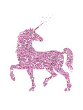 Pink Glitter Unicorn Reproduction d'art par Peach & Gold