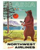 Alaska - Northwest Orient Airlines - Kodiak Alaskan Brown Grizzly Bear