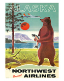 Alaska - Northwest Orient Airlines - Kodiak Alaskan Brown Grizzly Bear Giclée par Pacifica Island Art
