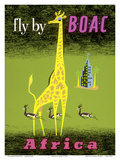 Africa - African Giraffe and Gazelles - Fly by BOAC