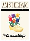 Amsterdam  Holland - Dutch Tulips in a Wooden Clog