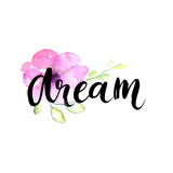 Dream - Inspirational Word at Pastel Violet Background  Typography for Poster  T-Shirt or Card Vec