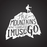 Mountains Calling Label Hiker Silhouette Lettering Chalk on Board Vector Illustration