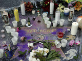 Memorial at David Bowie's star on the Hollywood Walk of Fame after Artist's Death on Jan 10  2016