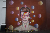Flowers Next to Mural of David Bowie after Artist's Death on Jan 10  2016