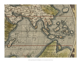Antique World Map Grid VI