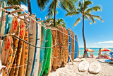 Surfboards in the Rack at Waikiki Beach - Honolulu