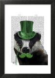 Badger with Green Top Hat and Moustache