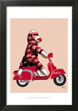 Sock Monkey on Red Moped