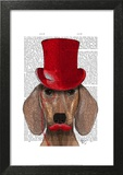 Dachshund With Red Top Hat and Moustache
