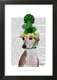 Greyhound in Green Knitted Hat