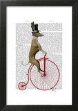 Greyhound on Red Penny Farthing Bike