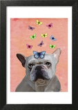 White French Bulldog and Butterflies