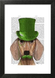 Dachshund With Green Top Hat and Moustache