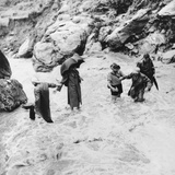 Sir Edmund Hillary's Himalayan Expedition Crossing a Mountain Torrent