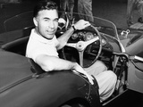 Porfirio Rubirosa at the Wheel of His Italian Race Car  a $17 000 Ferrari Mondial
