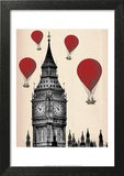 Big Ben and Red Hot Air Balloons