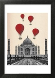 Taj Mahal and Red Hot Air Balloons