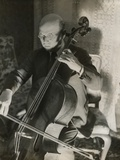 Pablo Casals  the Great Cello Player in His Home in Barcelona