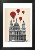 St Pauls Cathedral and Red Hot Air Balloons