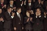 First Lady Laura Bush with Tom Ridge  Pm Tony Blair  and Nyc Mayor Rudy Giuliani