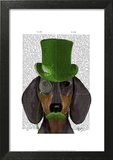 Dachshund with Green Top Hat Black Tan