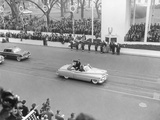 Vice President Richard Nixon Standing in an Open Car in the Inaugural Parade