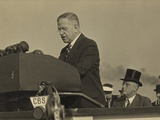 Harold L Ickes  at the Lectern with President Roosevelt Seated Behind  Oct 5  1937