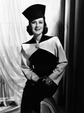 Norma Shearer  Modeling a Black and White Fall Suit  1938