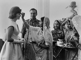 Jacqueline Kennedy Having a 'Bindi' Placed on Her Forehead at Jaipur  India