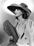 Jean Parker  Modeling a Matching Hat and Handbag of Black and White Checks  1941
