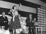 Mamie Eisenhower Waves to the Republican Crowd at the Election Night Victory Party