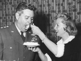 June Allyson Serving Cake to General Curtis Lemay on the 9th Anniversary of Sac