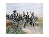 Dragoon Regiment in Front of the Boundary Post  Late 18th Century