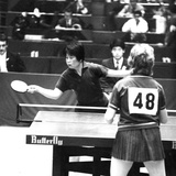 Lin Hui-Ching of Communist China at the 31st World Table Tennis Championships in Nagoya  Japan