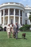 President Bill Clinton  Hillary and Chelsea Clinton  and Buddy the Dog on the South Lawn