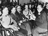 Bruno Hauptmann (2nd from Felt) Sitting Between State Troopers and a Sheriff at His Trial