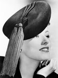 Eleanor Parker  Modeling a Black Felt Beret Topped with Bright Red Tassels  October 1943