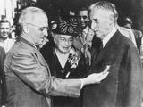 President Harry Truman Awards Distinguished Service Medal Retiring Secretary of War Henry Stimson