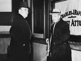 Dutch Schultz (Right) and James L Nooman  His Attorney  Visit the Dist Atty of Troy  New York