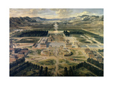 View of Castle and Gardens of Versailles  from Avenue De Paris in 1668