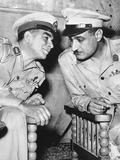 Egypt's Strongman Premier Muhammad Naguib Talking with Lieut Col Gamal Abdel Nasser