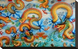 Chinese Golden Dragon on Wall