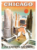Chicago  USA - Marina City  Chicago River - Fly Eastern Airlines
