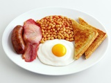 English Breakfast with Fried Egg  Beans  Toast and Sausage