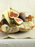 Fresh Figs and Cheese on Rustic White Bread