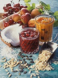 Cherry Jam with Coconut and Apricot Jam with Almonds