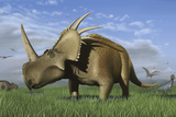 Group of Dinosaurs Grazing in a Grassy Field