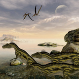 Deltadromeus Dinosaurs Search the Shoreline for Food to Eat