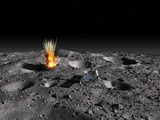 A Robotic Probe Drills into the Surface of an Asteroid as a Meteorite Strikes Nearby